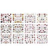 YDZS 12 diseños de uñas Texto Agua Calcomanías Labios Dedo del Deslizador de Transferencia Palabras manicura Set Tatuajes Arte de Clavos (Color : BN1549 1560)