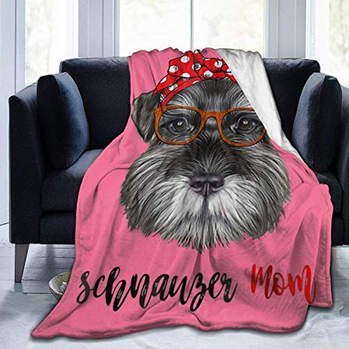 Schnauzer Dog Mom Art Full Fleece Throw Cloak Wearable Blanket Flannel Fluffy Comforter Quilt Nursery Bedroom Bedding Decor Ornaments Soft Cozy 50x40in