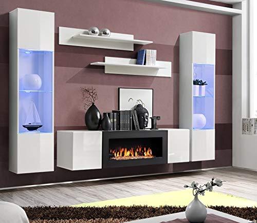 Moderner Wohnwand Lexus mit Bio Kamin Anbauwand Schrankwand Weiß Schwarz 21 (Weiß)