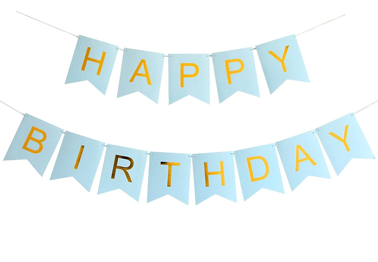 INNORU Happy Birthday Banner Blue and Gold Letters Birthday Bunting Stylish Decorations and Party Supplies