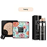 Magik Images Mushroom Head Air Cushion BB CC Cream Concealer Foundation Stick Moisturizing (Cushion BB+CC Stick, Ivory)