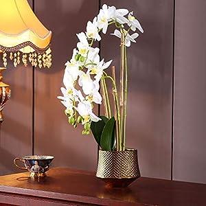 Large Artificial Orchid Phalaenopsis Arrangement Flower Bonsai with Golden Vase Table Centerpiece(White-3)