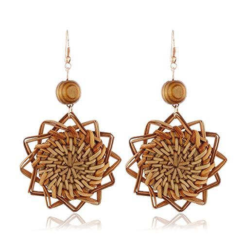 JOOFFF Holz Ohrringe Stroh Weave Rattan Ohrringe Geometrische Große Lange Tropfen Baumeln Ohrringe Für Frauen Mädchen