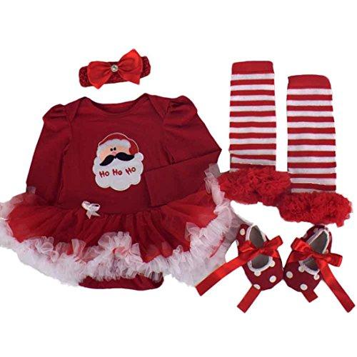 kingko® 4pcs Nouveau-né de Noël Infant Baby Girl Romper Tutu Robe Bandeau Chaussures Chaussettes Ensembles Tenues Vêtements Bodysuit (3-6 Mois)