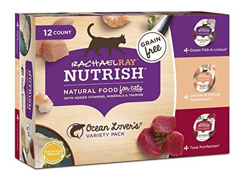 RACHAEL RAY NUTRISH Natural Wet Cat Food Variety Pack, Grain Free, Ocean Lovers, 2.8 oz Tubs, Pack of 12
