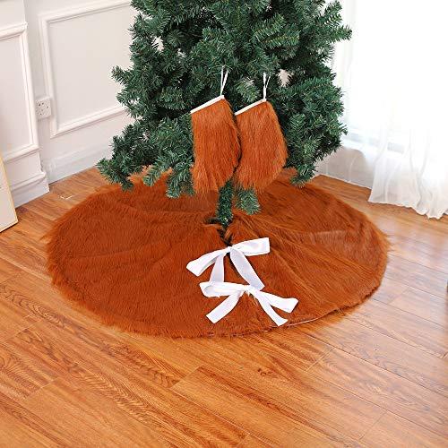 HTHJA 120cm/48in Christmas Tree Dress, Brown Plush Christmas Tree Skirt With 2 Fireplace Socks, Faux Fur Christmas Tree Tree Mat Christmas Tree Base Covers