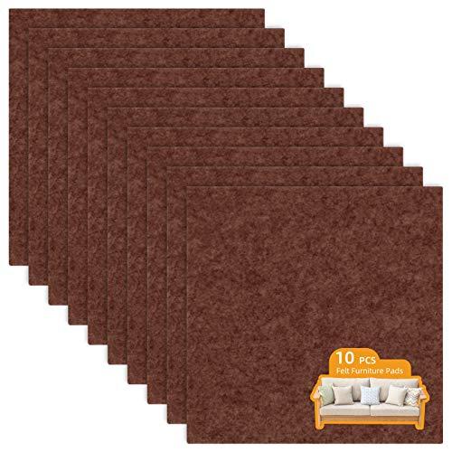 LITLANDSTAR 10 PCS self-adhesive Furniture filz Pads 20 * 20cm,filzgleiter selbstklebend Möbelpolster für Sofa Couch Tischbeine Stuhl möbelfüße, braun