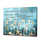 Inspirational Quotes Wall Art for Bedroom Water Blue White Flowers Picture for Kitchen Marine Life Wall Decor for Bathroom Country Canvas Prints for Rustic Home Decor Living Room Picture 24'x36'