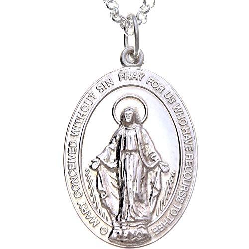 Medalla Grande Pulida de Plata de Ley de la Virgen Milagrosa, con Cadena 20 pulgadas - 30 mm.