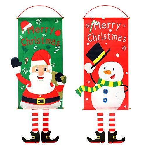 Dadabig 2Pcs Bandera Colgante de Navidad Decoración, Bandera de Navidad para Pared 40 * 80cm Colgantes Navideños para Puertas, Bandera Colgante de Papá Noel para Pared Puerta y Ventana (Rojo y verde)
