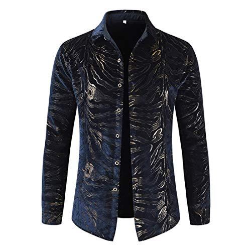 Men Shirt Men Shirt Fashion Trend Button Long Sleeve Business Casual Party Work Top Spring and Autumn Boutique Gentleman New Men Tops Blue_ M