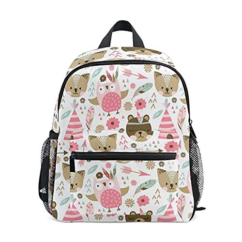 ISAOA - Mochila para niñas y niñas, diseño de animales rosados, mochila para guardería, mochila para niños con correa para el pecho