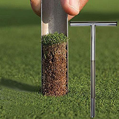 Bodenproben-Sonde aus Edelstahl, röhrenförmig, T-förmiger Griff Turf Lawn Boden-Sonde Maintenance Tool für Golfplätze, Golfzubehör, Garten, Bauernhof, Rasen, drinnen und draußen