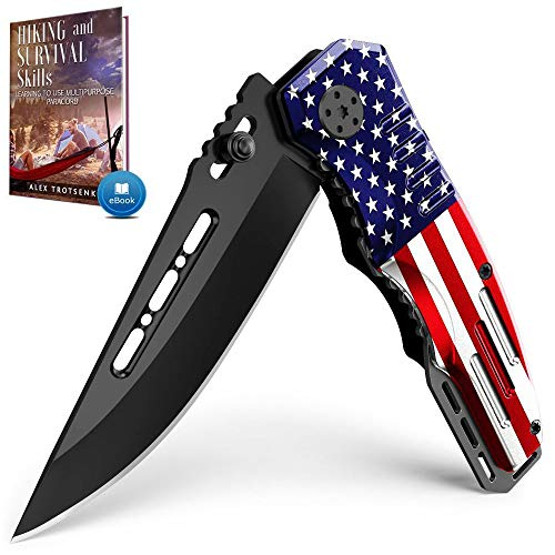 Spring Assisted Knife - Pocket Folding Knife - Military Style - Boy Scouts Knife - Tactical Knife - Good for Camping Hunting Survival Indoor and Outdoor Activities Mens Gift 6681 F