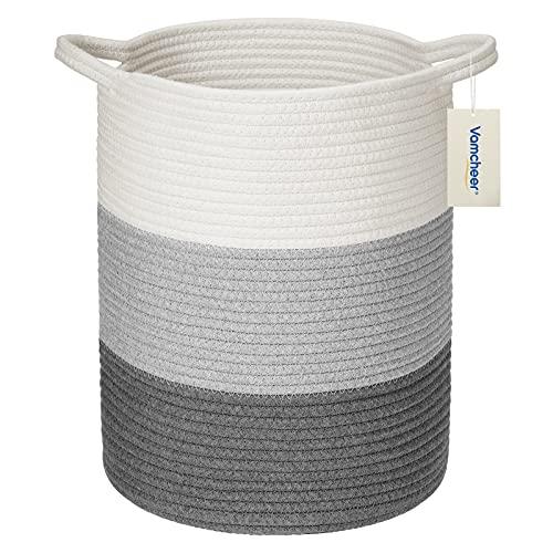 Vamcheer Cesta Ropa Sucia- Cesta almacenaje de Cuerda de algodón con Asas, Cuerda Algodón Cesta para Colada, Plegable Cesta De Algodón Natural,Blanco y azul,Degradado, (M 35x35x45 cm)