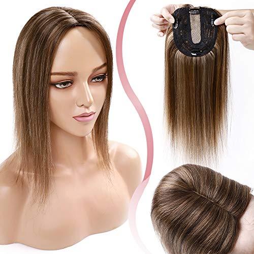 Elailite Protesis Capilares Pelo Natural Hair Topper Mujer Clip Cabello Humano Extensiones Toupee Remy 130% Densidad 25cm (35g) #4P27 Marrón Medio Balayage Rubio Oscuro