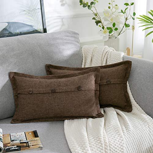 AllmarkHomes Fundas De Cojines Sofa Cojines Decorativos Funda Cojin 30x50 cm Cojines Sofa Para Sofa Con Cojines Fundas Almohadones (Marrón Set De 2)