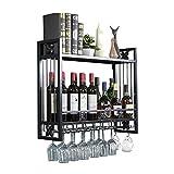 Estante para vino Estante para vino para uso doméstico Sostenedor de copa de vino creativo montado en la pared Soporte de copa de vino boca abajo Estante doble de hierro forjado Estante para vino