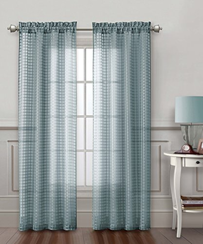 Victoria Classics One Blue Gray Sheer Window Curtain Panel: Check Design, 54in x 84in