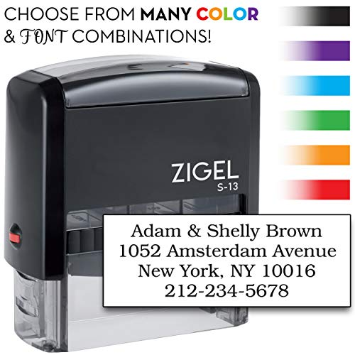 ZIGEL S-13 Custom Self Inking Return Address Stamp, Up to Five Lines of Type - with Extra Replacement Ink Pad
