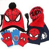 3 – 12 años de edad otoño/invierno de Spider-Man, juego de 3 guantes de invierno para niños, cuello superman, talla S 2 gorro de doble capa