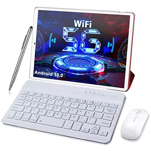 Tablet 10 Pulgadas Android 10 5G WiFi, 1.6 GHz 4GB RAM + 64GB ROM (TF 128GB) Tableta - WiFi | Bluetooth | Tipo-C | 6000 MAh con ratón | Teclado y Otros (Solo admite WiFi) (Rojo)