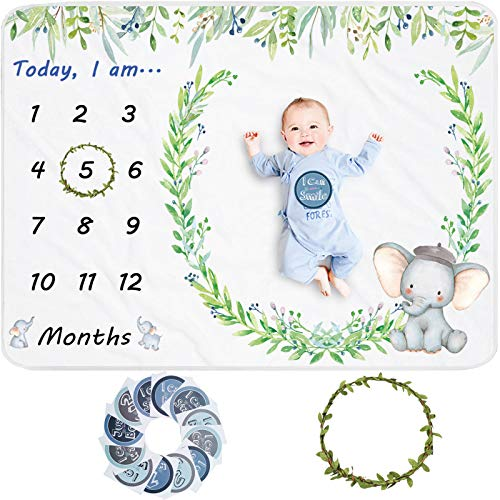 Elephant Baby Monthly Milestone Blanket for Boy, Gift for Baby Shower, Baby Photo Blanket for Boy & Girl, Wreath &12 Stickers Included, 51