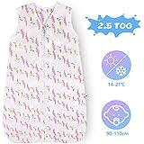 Licitn Saco de Dormir para Bebé - 2.5 TOG Saco de Dormir de Algodón Unisex para Bebés,Longitud Ajustable para Bebé (Rosa, 3-18 Meses(70-90cm))