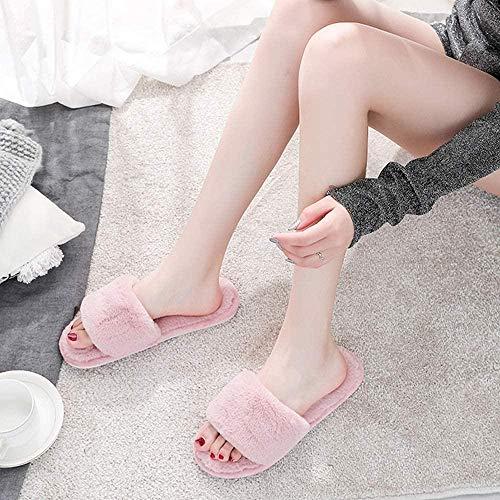 ZSW Mujeres Cálido Invierno Confort Fluffy Felpa Dibujos Animados Mujer Hogar Furry Interior Casa Zapatos Dormitorio de Las señoras (Color: Polvo de melocotón Tamaño: 37-38)-N.º 35-36_Negro