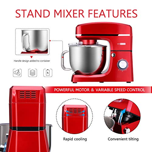VIVOHOME 7.5 Quart Stand Mixer, 660W 6-Speed Tilt-Head Kitchen Electric Food Mixer with Beater, Dough Hook and Wire Whip, ETL Listed, Red