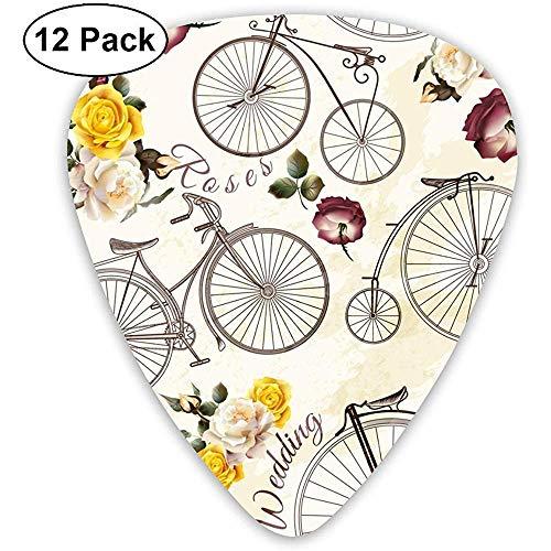 Patrón sin costuras Vintage Bicicleta y flores Selecciones de guitarra de celuloide...