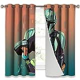 SSKJTC Cortinas a prueba de sonido para ventana bebé Yoda y mandaloriano ojal superior 2 paneles ancho 42 x largo 63