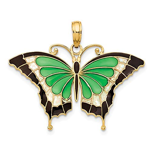 Saris and Things 14k gelbgold grün buntglas-flügel-Schmetterlings-anhänger mit acryl