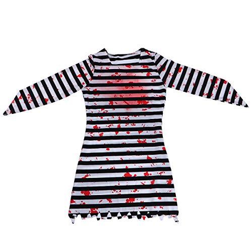 Tomaibaby Disfraz de Prisionero de Halloween Prisionero Sangriento Vestido de Cosplay Fiesta de Terror Juego de Simulación Ropa para Actuación Suministros de Disfraces Talla L (Color
