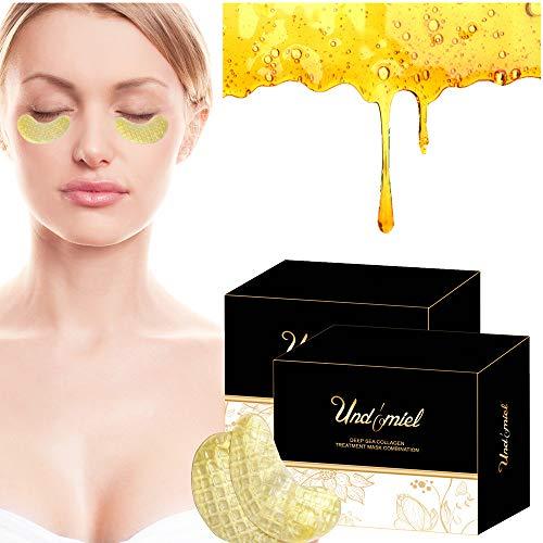 Undomiel - Máscara de miel de colágeno marino antienvejecimiento, color dorado activo con tratamiento de propiedades de cuidado de arrugas para círculos oscuros y puffiness