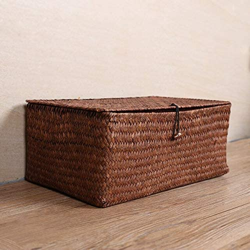 Manual Woven Storage Basket Box Shipping included Max 83% OFF Debris Lid Consolidation