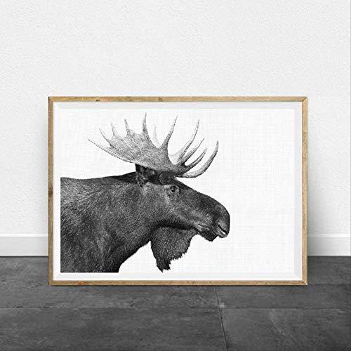 LWJZQT canvas prints Forest Animal Moose Boerderij Muur Kunst Doek Poster Print Zwart Wit Fotografie Retro Wandbeeld Boerderij Thuis Rustiek Decor