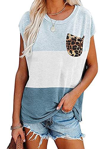 CORAFRITZ Women's Summer Shirts Casual Short Sleeve Tunic Tops Color Block Crewneck Leopard Print Pocket Blouse Top Sky Blue