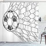 ABAKUHAUS Schwarz-Weiss Duschvorhang, Fußball im Netz, Wasser Blickdicht inkl.12 Ringe Langhaltig Bakterie & Schimmel Resistent, 175 x 180 cm, Weiß Schwarz