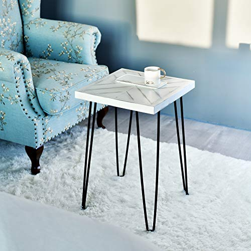 WELLAND Washed White 24' Tall Side Table,Rustic Slab Table with Hairpin Metal Legs, Small End Table for Living Room,Bed Room