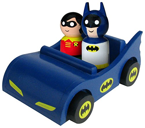 Bif Bang Pow! Batmobile with Classic Batman and Robin Pin Mate Wooden Figure Set
