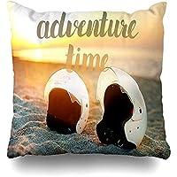 枕カバーを投げるシービーチレタリングアドベンチャースポーツテキストレクリエーションベストトラベルドローイングハンドデザインホーム枕ケーススクエアサイズ18x18インチジッパー式装飾枕カバー