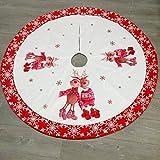 OMGPFR Falda roja del árbol de Navidad, Suave Alfombra clásica Redonda de Papá Noel Alfombra de Tela de Tela de Tejer Alfombra Redonda para Casas Sala de Estar Aire Libre Decoraciones,Rojo,120CM(48')