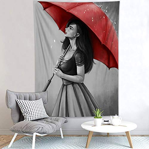 HVEST African American Black Girl Tapestry Beautiful Elegant Women Holding Red Umbrella Standing Under the Rain Tapestries, for Girls Bedroom Living Room Teen Dorm Indie Decor Poster ,60Wx40H Inches
