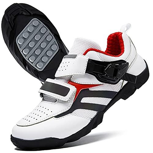 DSMGLRBGZ Chaussure VTT Homme, (36-48) Respirante Réduit Les Chocs, Semelle en Caoutchouc, avec Bouton de réglage, pour Homme Femme Enfant Chaussures Vélo/Tout Terrain,Blanc,40