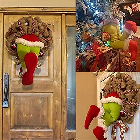 Thief Stole Christmas Burlap Wreath Fall Wreath Santa Claus Garland Hanging Ornament for Christmas Tree Front Door Living Room Wall Window Indoor Decoration 20inch Christmas Front Door Wreaths
