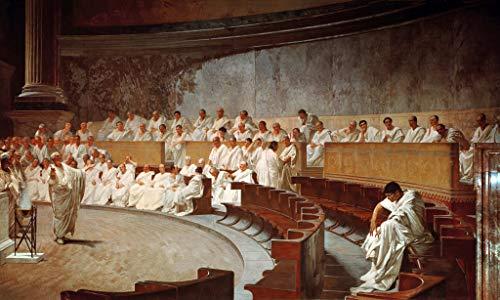 Kunst für Alle Impresión artística/Póster: Cesare Maccari Cicero in The Senate Accusing Catilina of Conspiracy - Impresión, Foto, póster artístico, 65x40 cm