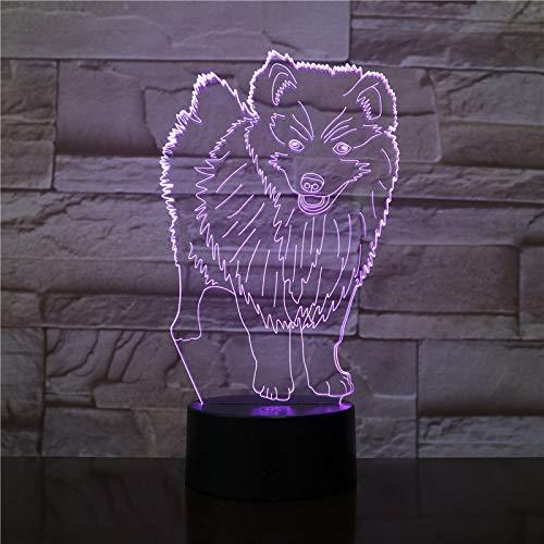 3D staande hond optische illusie lampen leuke 7 kleuren wisselende tabel bureau-nachtlampje met USB-kabel voor slaapkamer huis decoratie verjaardag Kerstmis cadeau