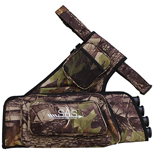 SAS 4 Tube Archery Arrow Target Quiver with Two Zipped Pockets, One Binocular Pocket and Adjustable Waist Strap (Camo)