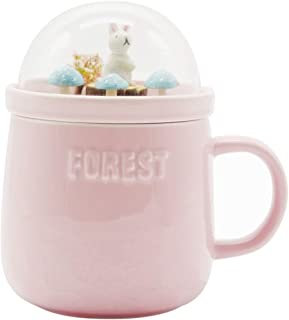 Bewaltz Personalized Forest Mug - Rabbit, Original Ceramic Coffee Tea Mug with beautifully made 3D miniature globe lid, 15 oz, Great for hot or cold drinks, Party Gifts, Birthday Gifts, Pink